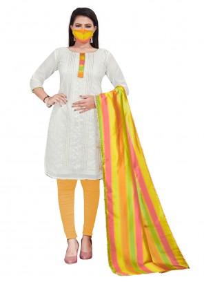 Off White Chanderi Salwar Kameez