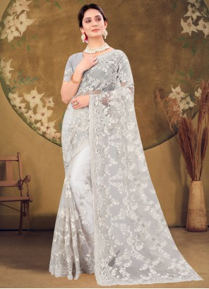 Off White Color Designer Saree