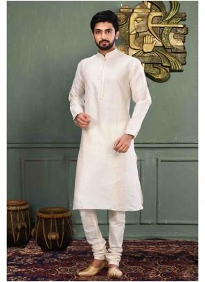 Off White Color Kurta Pyjama
