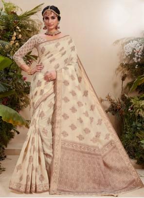 Off White Color Trendy Saree