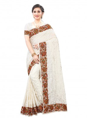 Off White Color Patch Border Trendy Saree