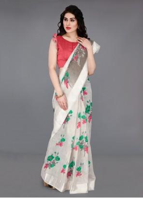 Off White Cotton Bollywood Saree