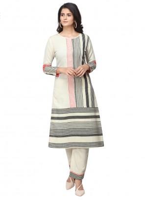 Off White Cotton Ceremonial Salwar Suit