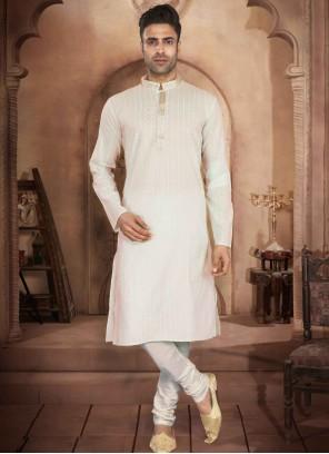 Off White Cotton Engagement Kurta Pyjama