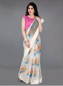 Off White Cotton Festival Traditional Saree