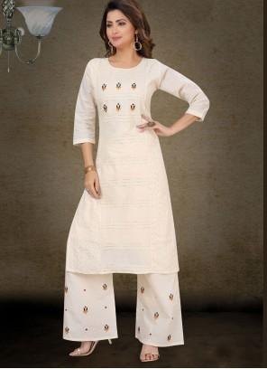 Off White Cotton Palazzo Salwar Kameez
