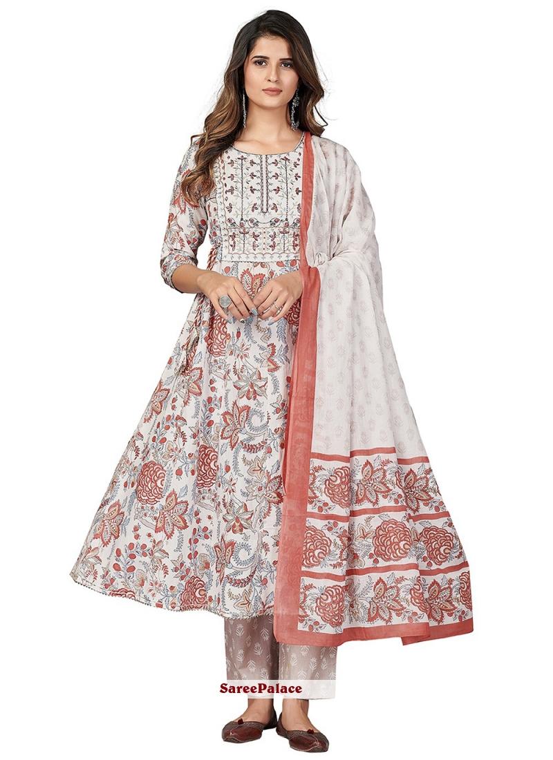 Off White Cotton Party Anarkali Suit