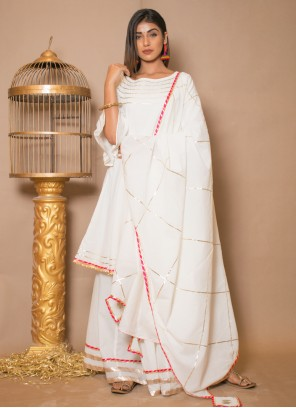 Off White Cotton Party Salwar Suit