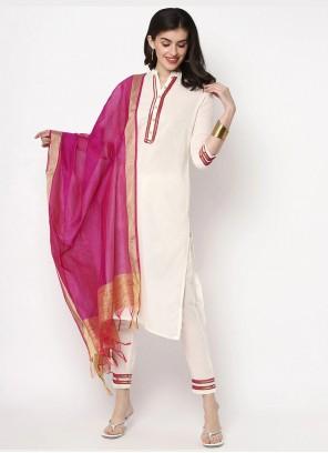 Off White Cotton Plain Pant Style Suit