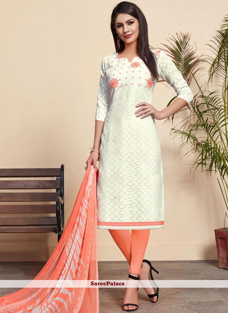 Off White Cotton Printed Churidar Designer Suit