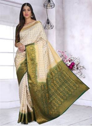 Off White Cotton Silk Ceremonial Designer Saree