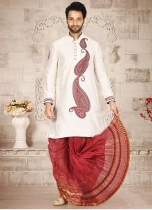 Off White Cotton Silk Party Dhoti Kurta