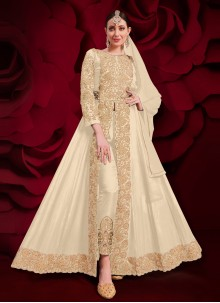 Off White Embroidered Anarkali Suit