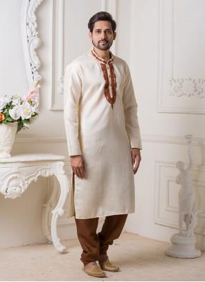 Off White Embroidered Art Silk Kurta Pyjama