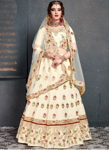 Off White Embroidered Bridal Designer Lehenga Choli