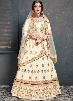 Off White Embroidered Bridal Designer Lehenga Choli