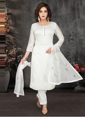 Off White Embroidered Chanderi Anarkali Suit