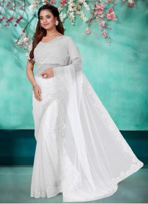 Off White Embroidered Classic Designer Saree
