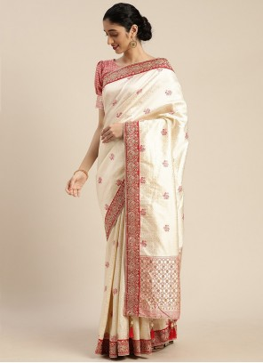 Off White Embroidered Designer Traditional Saree