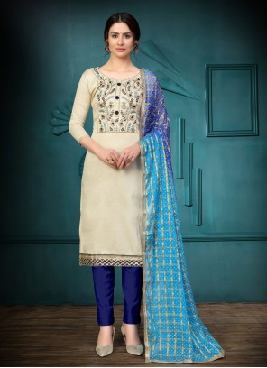Off White Embroidered Festival Churidar Suit