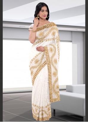 Off White Embroidered Festival Designer Saree