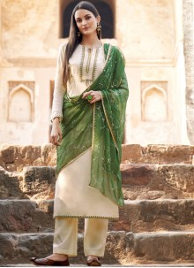 Off White Embroidered Muslin Salwar Suit