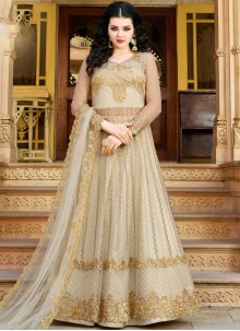 Off White Embroidered Net Designer Salwar Suit