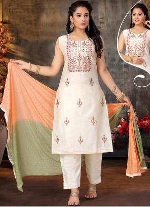 Off White Embroidered Sangeet Designer Suit