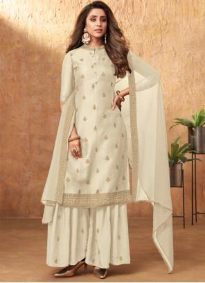 Off White Embroidered Silk Designer Pakistani Salwar Suit