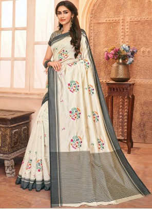 Off White Embroidered Tussar Silk Bollywood Saree