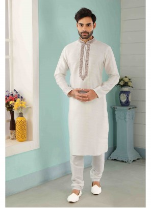 Off White Engagement Art Banarasi Silk Kurta Pyjama