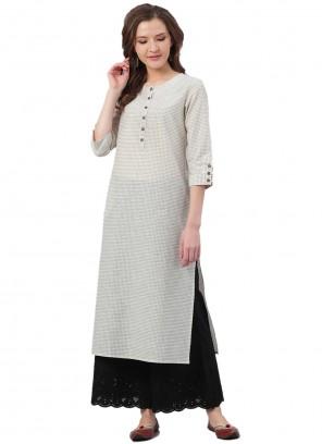 Off White Fancy Chanderi Party Wear Kurti