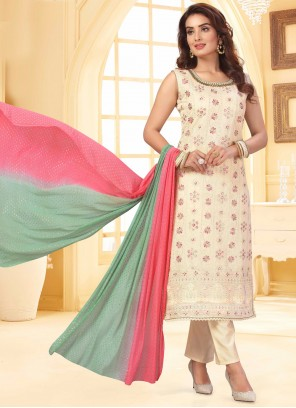 Off White Fancy Chanderi Readymade Suit