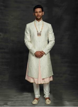 Off White Fancy Fabric Ceremonial Sherwani