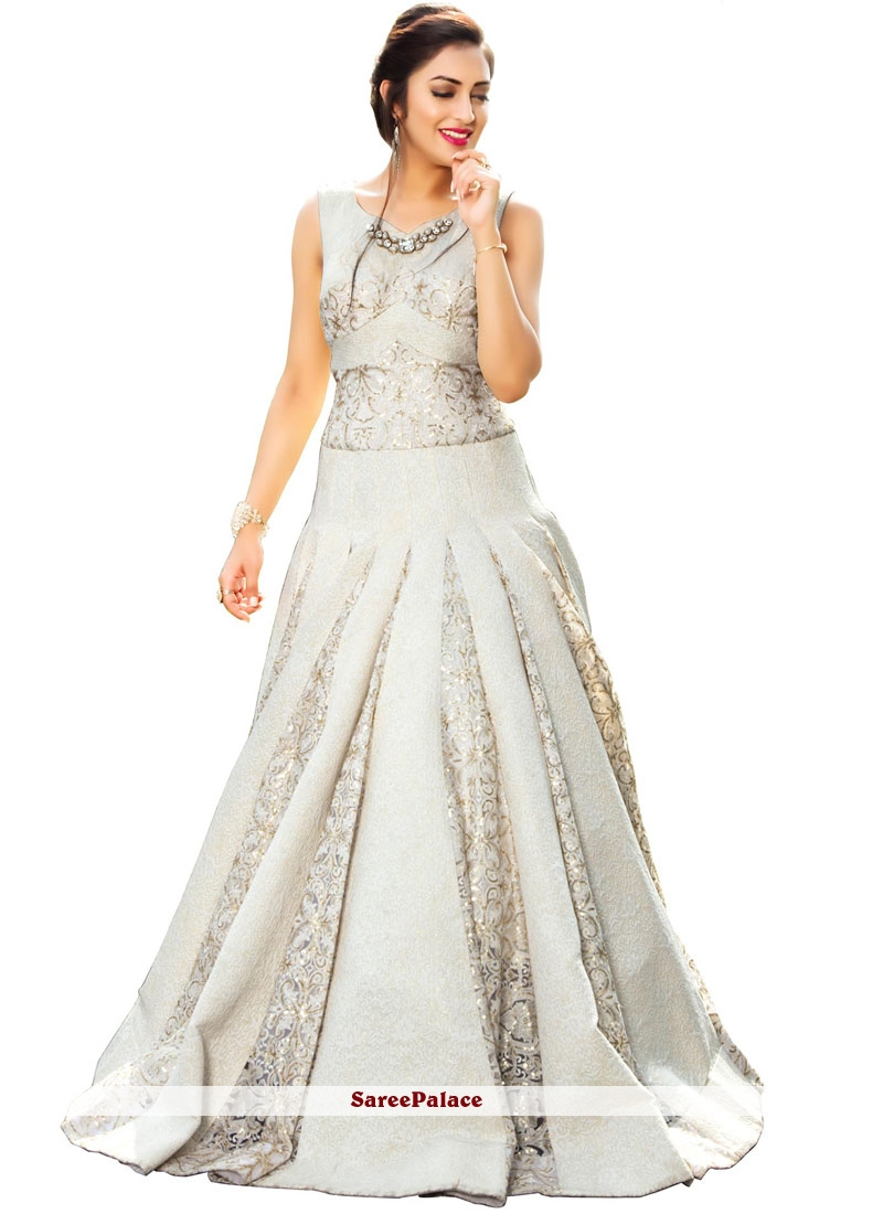 Off White Fancy Fabric Sequins Work Readymade Gown