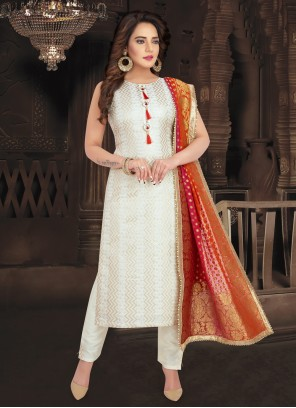 Off White Fancy Jacquard Readymade Suit