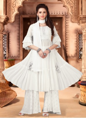Off White Faux Chiffon Designer Palazzo Suit