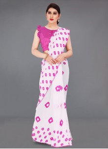 Abstract Print Off White Faux Georgette Printed Saree