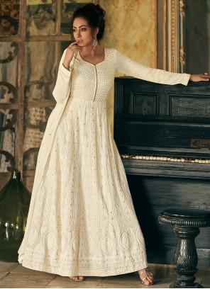 Off White Faux Georgette Fancy Floor Length Anarkali Suit