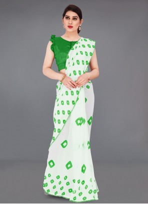 Off White Faux Georgette Printed Saree