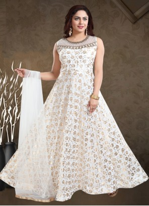 Off White Faux Georgette Readymade Gown