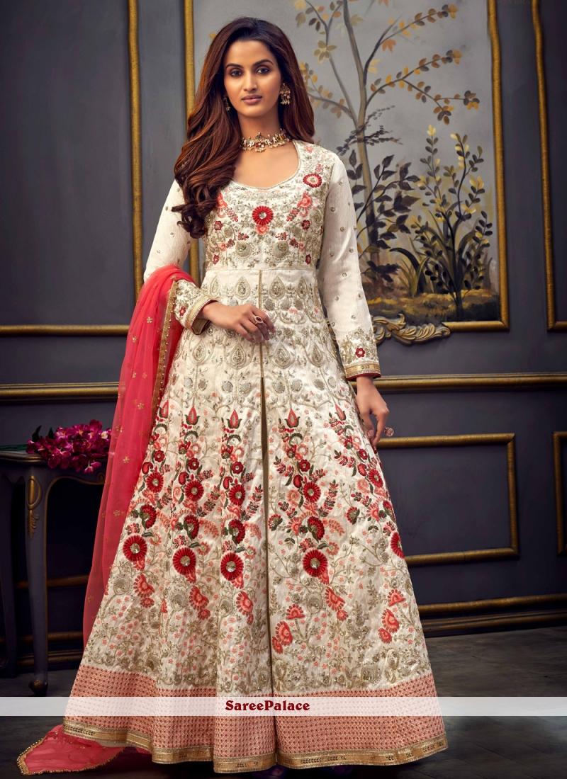 Off White Festival Bollywood Salwar Kameez