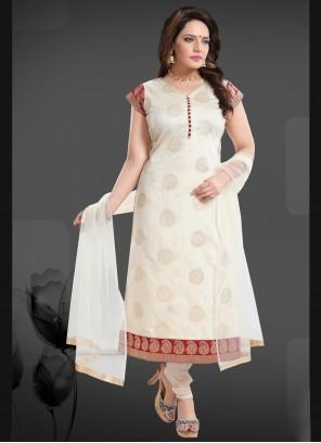 Off White Festival Churidar Designer Suit