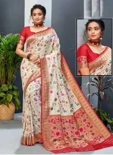 Off White Festival Designer Traditional Saree