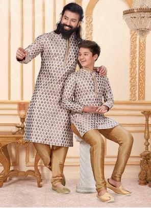 Off White Festival Jacquard Silk Kurta Pyjama
