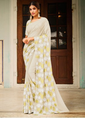 Off White Abstract Print Festival Saree