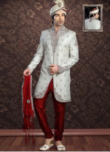 Off White Jacquard Sherwani
