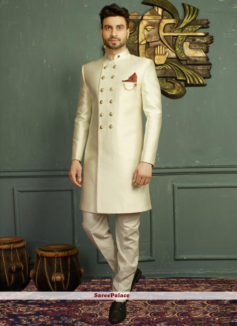 Off White Jacquard Wedding Indo Western