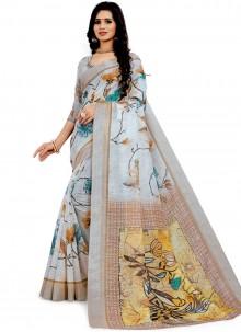 Off White Linen Printed Saree