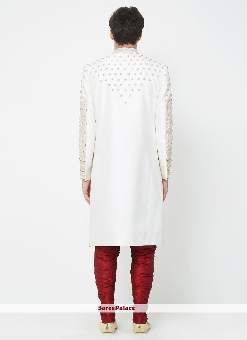 Off White Machine Embroidery Sherwani